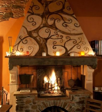 a warm corner with the fireplace